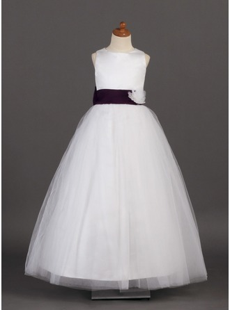 A-Line/Princess Scoop Neck Floor-Length Satin Tulle Flower Girl Dress With Sash Flower(s) Bow(s)