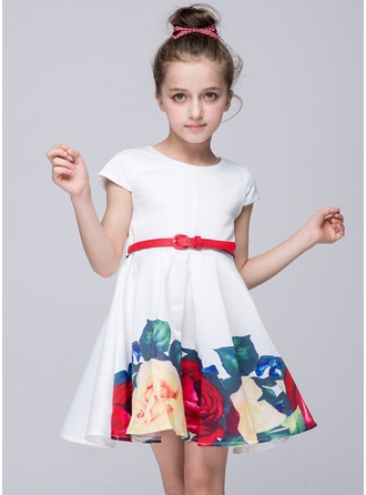 A-Line/Princess Short/Mini Flower Girl Dress - Polyester Short Sleeves Scoop Neck With Sash
