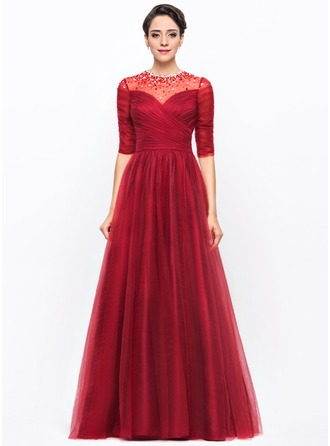 A-Line/Princess Scoop Neck Floor-Length Tulle Charmeuse Evening Dress With Ruffle Beading Sequins