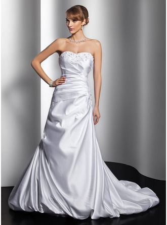 A-Line/Princess Sweetheart Court Train Satin Wedding Dress With Ruffle Beading Appliques Lace