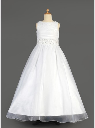 A-Line/Princess Organza/Charmeuse First Communion Dresses With Ruffle/Beading/Sequins