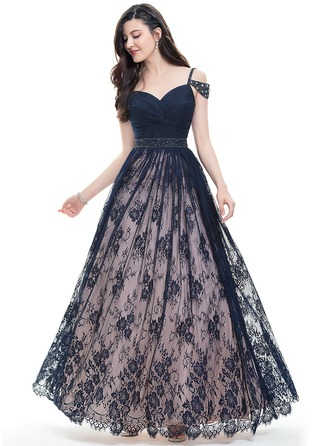 Ball-Gown Sweetheart Floor-Length Lace Prom Dress With Ruffle Beading Sequins