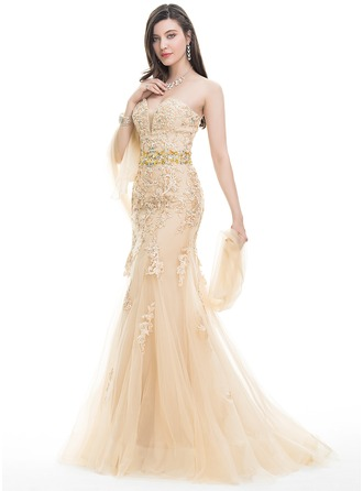 Trumpet/Mermaid Sweetheart Sweep Train Tulle Lace Prom Dress With Beading Sequins