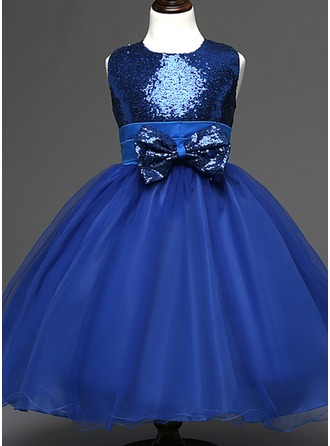 Empire Knee-length/Tea-length Flower Girl Dress - Sequined/Cotton Blends Sleeveless Scoop Neck With Sequins/Bow(s)