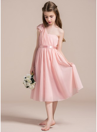 A-Line/Princess One-Shoulder Knee-Length Chiffon Junior Bridesmaid Dress With Ruffle Bow(s)