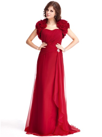 A-Line/Princess Sweetheart Sweep Train Chiffon Evening Dress With Beading Cascading Ruffles