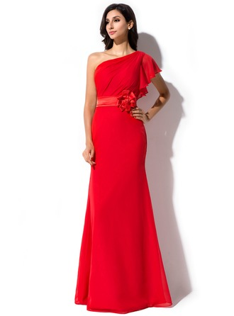 Sheath/Column One-Shoulder Floor-Length Chiffon Charmeuse Evening Dress With Flower(s) Cascading Ruffles