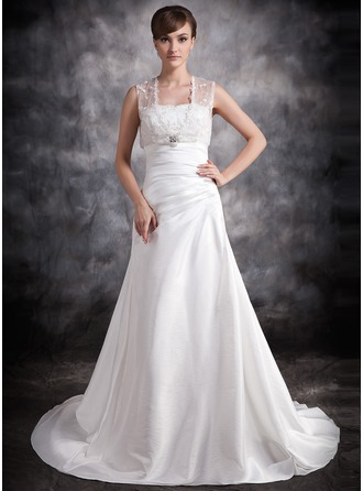 A-Line/Princess Sweetheart Court Train Taffeta Wedding Dress With Ruffle Beading