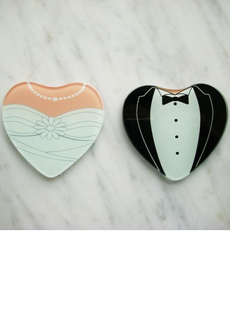 Tuxedo & Gown Heart Shaped Glass Coaster
