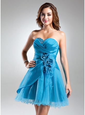 A-Line/Princess Sweetheart Short/Mini Taffeta Tulle Cocktail Dress With Ruffle Beading Flower(s)