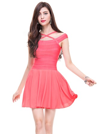 A-Line/Princess Short/Mini Cocktail Dress With Ruffle