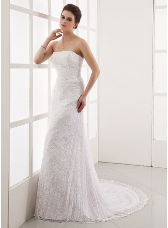 A-Line/Princess Strapless Court Train Lace Wedding Dress With Beading