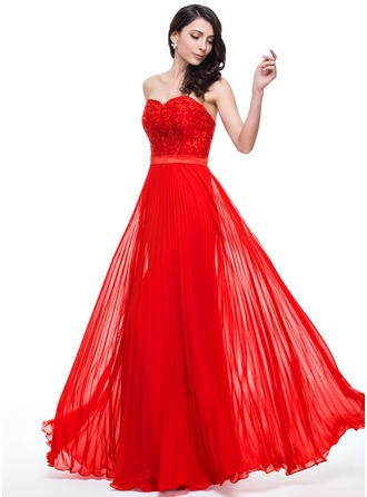 A-Line/Princess Sweetheart Floor-Length Chiffon Charmeuse Lace Prom Dress With Pleated