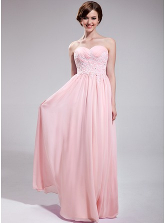 A-Line/Princess Sweetheart Floor-Length Chiffon Prom Dress With Ruffle Beading Appliques Lace Sequins