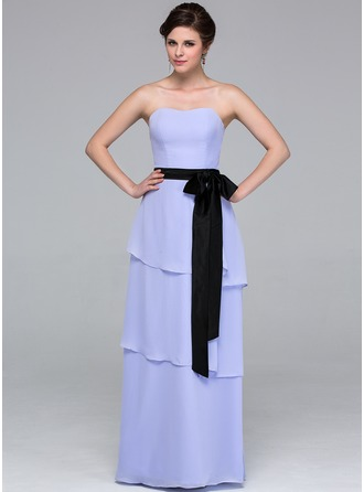 A-Line/Princess Sweetheart Floor-Length Chiffon Bridesmaid Dress With Sash Bow(s) Cascading Ruffles