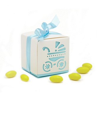 Baby Carriage Cubic Favor Boxes With Ribbons
