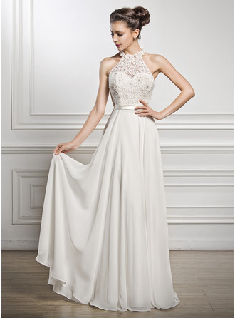 A-Line/Princess Scoop Neck Floor-Length Chiffon Charmeuse Lace Wedding Dress With Beading Sequins