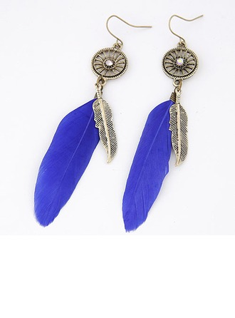 Beau Alliage avec Feather Dames Boucles d'oreille de mode