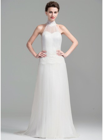 A-Line/Princess High Neck Sweep Train Tulle Wedding Dress With Lace Bow(s) Pleated