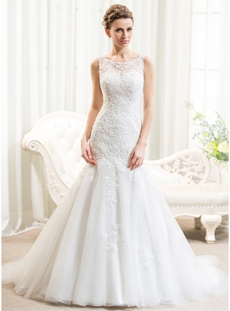 Trumpet/Mermaid Scoop Neck Court Train Tulle Lace Wedding Dress With Beading Sequins