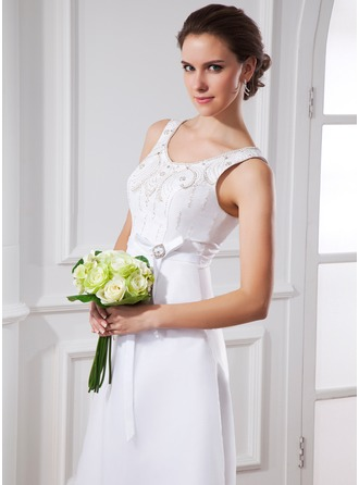 A-Line/Princess Scoop Neck Tea-Length Organza Satin Wedding Dress With Sash Beading Bow(s)