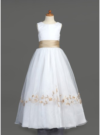 A-Line/Princess Scoop Neck Floor-Length Organza Flower Girl Dress With Embroidered Ruffle Sash