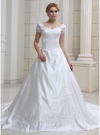 Ball-Gown Sweetheart Chapel Train Satin Organza Wedding Dress With Embroidered Beading
