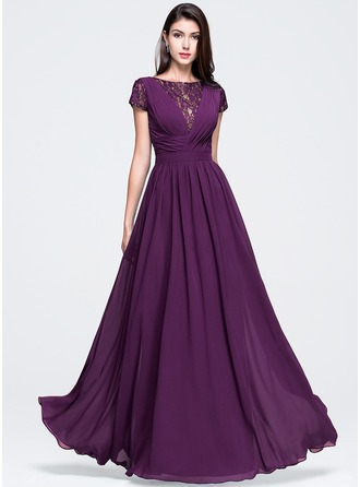 A-Line/Princess Scoop Neck Floor-Length Chiffon Prom Dress With Ruffle
