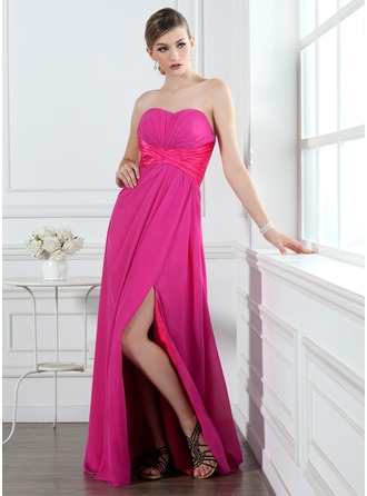 A-Line/Princess Sweetheart Floor-Length Chiffon Holiday Dress With Ruffle Beading Split Front