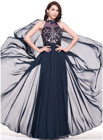 A-Line/Princess High Neck Floor-Length Chiffon Tulle Evening Dress With Lace Beading Sequins