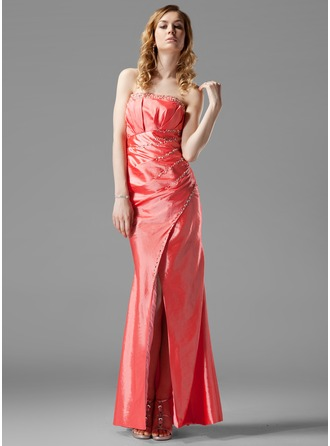 Sheath/Column Strapless Floor-Length Taffeta Evening Dress With Ruffle Beading Split Front