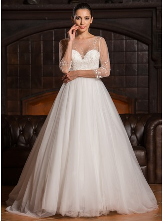 Ball-Gown Scoop Neck Sweep Train Tulle Lace Wedding Dress With Beading