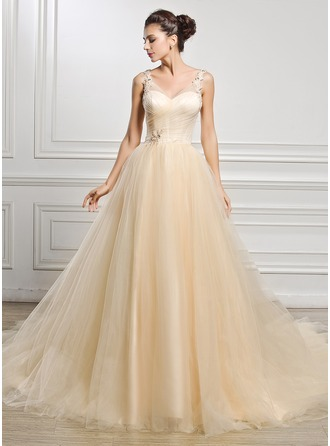 Ball-Gown V-neck Cathedral Train Tulle Wedding Dress With Ruffle Beading Appliques Lace Sequins
