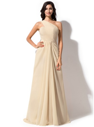 Sheath/Column One-Shoulder Watteau Train Chiffon Tulle Evening Dress With Ruffle Sequins Split Front