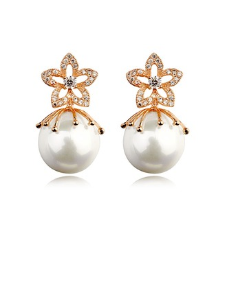 Gorgeous Pearl With Austrian Crystal Ladies' Earrings