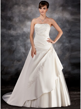 Ball-Gown Strapless Court Train Charmeuse Tulle Wedding Dress With Ruffle Beading Appliques Lace