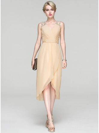 A-Line/Princess V-neck Asymmetrical Chiffon Cocktail Dress With Ruffle Beading Sequins