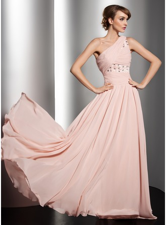 A-Line/Princess One-Shoulder Floor-Length Chiffon Holiday Dress With Ruffle Beading Flower(s)