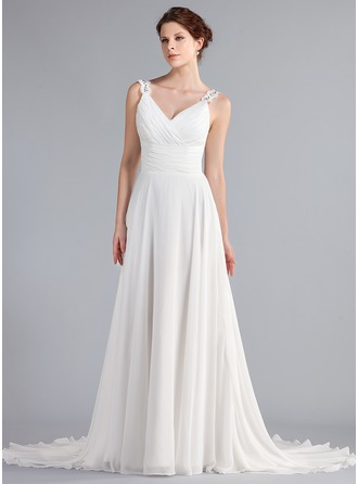 A-Line/Princess V-neck Court Train Chiffon Wedding Dress With Ruffle Beading Appliques Lace