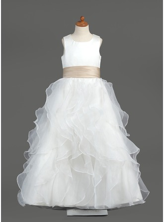 A-Line/Princess Organza/Satin First Communion Dresses With Sash/Cascading Ruffles