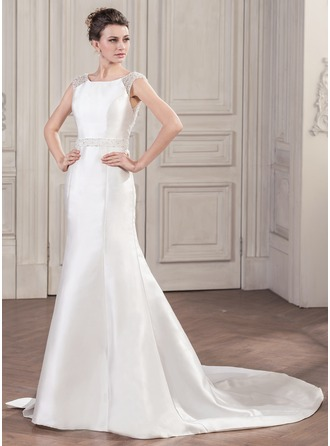Trumpet/Mermaid Scoop Neck Chapel Train Satin Wedding Dress With Beading Sequins Bow(s)