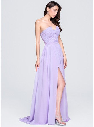 A-Line/Princess Scalloped Neck Sweep Train Chiffon Evening Dress With Ruffle Split Front