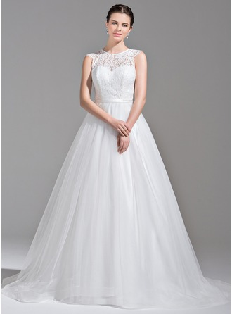 Ball-Gown Scoop Neck Sweep Train Tulle Lace Wedding Dress