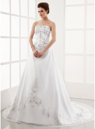 A-Line/Princess Strapless Chapel Train Organza Satin Wedding Dress With Embroidered Beading