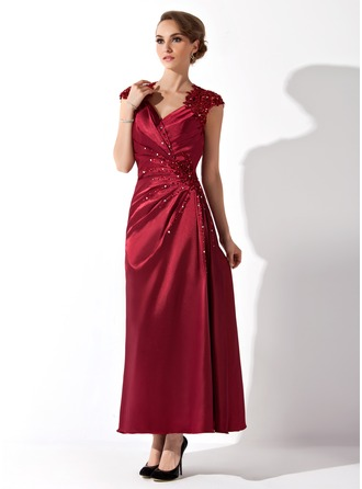 A-Line/Princess V-neck Ankle-Length Charmeuse Mother of the Bride Dress With Ruffle Lace Beading