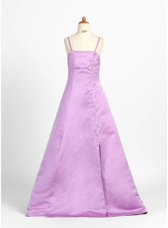 A-Line/Princess Floor-Length Satin Junior Bridesmaid Dress With Beading
