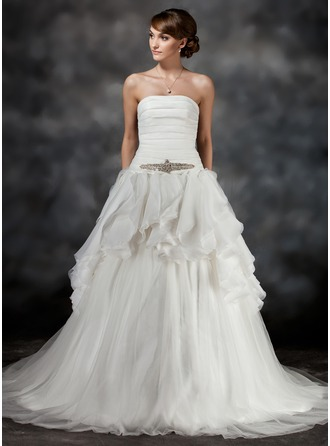 Ball-Gown Strapless Chapel Train Tulle Wedding Dress With Beading Cascading Ruffles