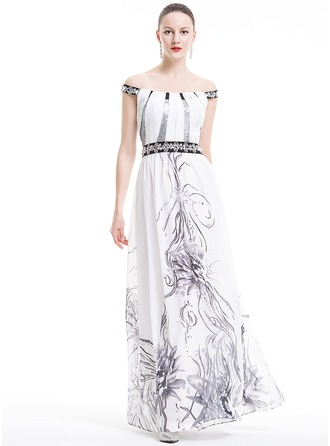 A-Line/Princess Off-the-Shoulder Floor-Length Chiffon Holiday Dress With Ruffle Beading Sequins