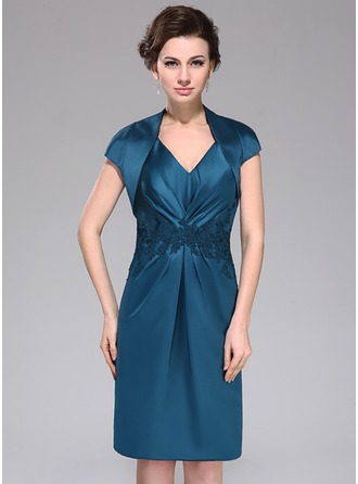 Sheath/Column V-neck Knee-Length Satin Mother of the Bride Dress With Ruffle Lace