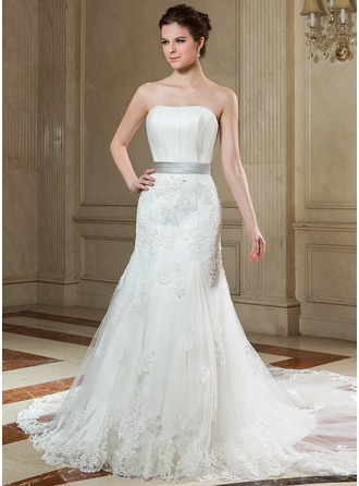 Trumpet/Mermaid Strapless Chapel Train Satin Tulle Wedding Dress With Ruffle Sash Beading Appliques Lace Bow(s)